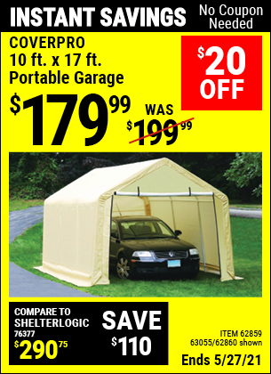 Harbor Freight Tools Coupons, Harbor Freight Coupon, HF Coupons-10 Ft. X 17ft. Portable Garage