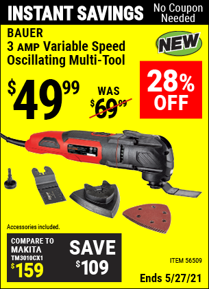 Harbor Freight Tools Coupons, Harbor Freight Coupon, HF Coupons-3A Variable Speed Oscillating Multi-Tool