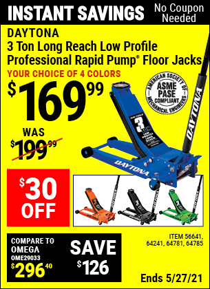 Harbor Freight Tools Coupons, Harbor Freight Coupon, HF Coupons-3 ton Long Reach Low Profile Professional Rapid Pump® Floor Jack, Blue