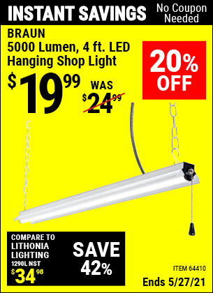 Harbor Freight Tools Coupons, Harbor Freight Coupon, HF Coupons-5000 Lumen Led Hanging Shop Light