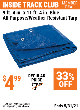 Harbor Freight Tools Coupons, Harbor Freight Coupon, HF Coupons-9 ft. 4 in. x 11 ft. 4 in. Blue All Purpose/Weather Resistant Tarp