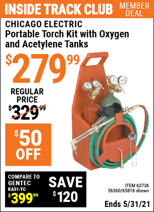 Harbor Freight Tools Coupons, Harbor Freight Coupon, HF Coupons-Portable Torch Kit With Oxygen And Acetylene Tanks