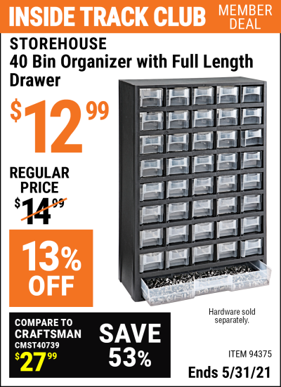 Harbor Freight Tools Coupons, Harbor Freight Coupon, HF Coupons-40 Bin Organizer With Full Length Drawer