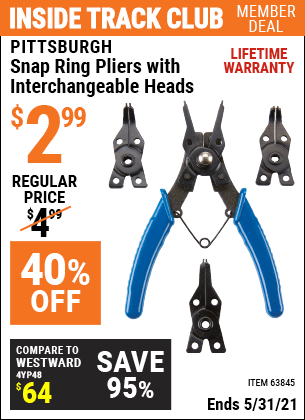 Harbor Freight Tools Coupons, Harbor Freight Coupon, HF Coupons-Pittsburgh Snap Ring Pliers With Interchangeable Heads