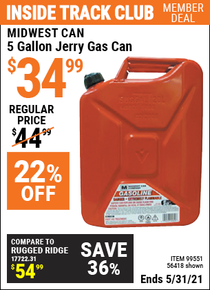 Harbor Freight Tools Coupons, Harbor Freight Coupon, HF Coupons-5 Gallon Jerry Can