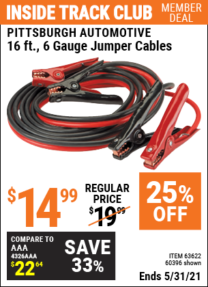 Harbor Freight Tools Coupons, Harbor Freight Coupon, HF Coupons-16 Ft. 6 Gauge Heavy Duty Booster Cables