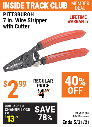 Harbor Freight Tools Coupons, Harbor Freight Coupon, HF Coupons-7 In. Wire Stripper With Cutter
