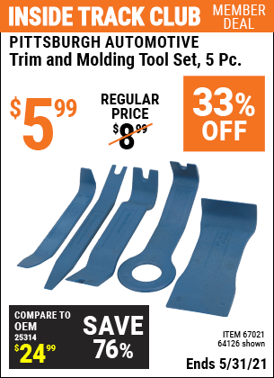 Harbor Freight Tools Coupons, Harbor Freight Coupon, HF Coupons-5 Piece Auto Trim And Molding Tool Set