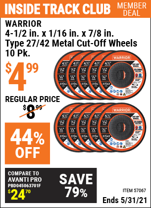 Harbor Freight Tools Coupons, Harbor Freight Coupon, HF Coupons-4-1/2 in. x 1/16 in. x 7/8 in. Type 27/42 Metal Cut-off Wheel, 10 Pk.