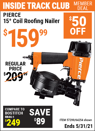 Harbor Freight Tools Coupons, Harbor Freight Coupon, HF Coupons-15° Coil Roofing Nailer