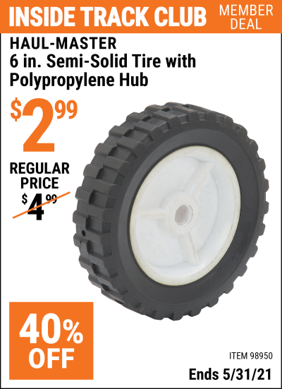 Harbor Freight Tools Coupons, Harbor Freight Coupon, HF Coupons-6 in. Semi-Solid Tire with Polypropylene Hub