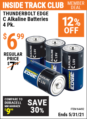 Harbor Freight Tools Coupons, Harbor Freight Coupon, HF Coupons-THUNDERBOLT EDGE C Alkaline Batteries 4 Pk. for $4.99