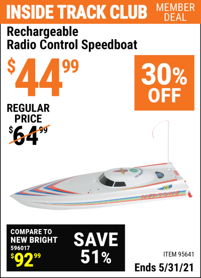 Harbor Freight Tools Coupons, Harbor Freight Coupon, HF Coupons-Rechargable Radio Control Speedboat