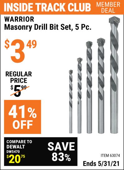 Harbor Freight Tools Coupons, Harbor Freight Coupon, HF Coupons-5 Piece Masonry Drill Bit Set