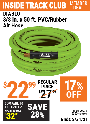 Harbor Freight Tools Coupons, Harbor Freight Coupon, HF Coupons-3/8 in. x 50 ft. PVC/Rubber Air Hose