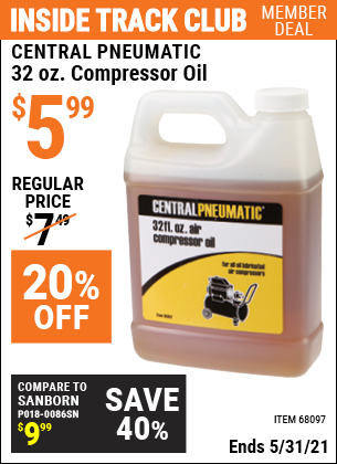 Harbor Freight Tools Coupons, Harbor Freight Coupon, HF Coupons-32 oz. Compressor Oil
