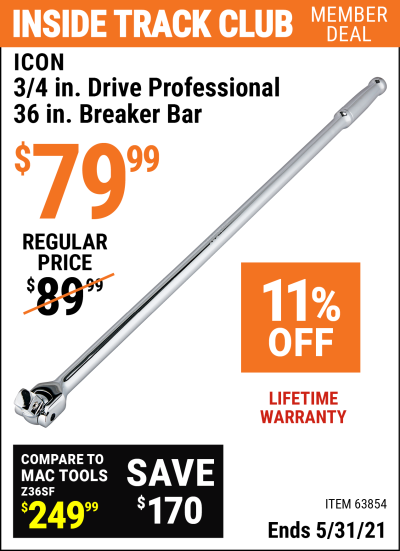 Harbor Freight Tools Coupons, Harbor Freight Coupon, HF Coupons-3/4 in. Drive Professional 36 in. Breaker Bar