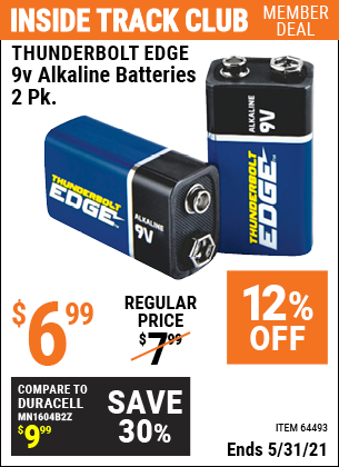 Harbor Freight Tools Coupons, Harbor Freight Coupon, HF Coupons-THUNDERBOLT EDGE 9V Alkaline Batteries 2 Pk. for $4.99