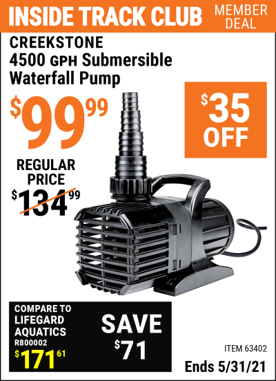 Harbor Freight Tools Coupons, Harbor Freight Coupon, HF Coupons-Creekstone 4500gph Submersible Waterfall Pump