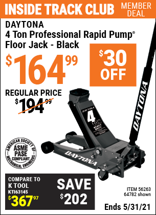 Harbor Freight Tools Coupons, Harbor Freight Coupon, HF Coupons-4 ton Professional Rapid Pump® Floor Jack, Black
