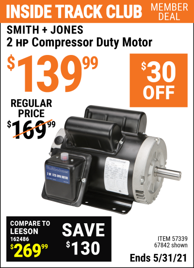 Harbor Freight Tools Coupons, Harbor Freight Coupon, HF Coupons-2 Hp Compressor Duty Motor