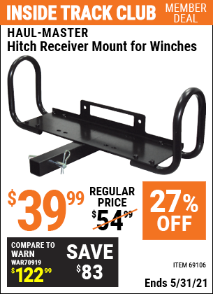Harbor Freight Tools Coupons, Harbor Freight Coupon, HF Coupons-Hitch Receiver Mount For Winches