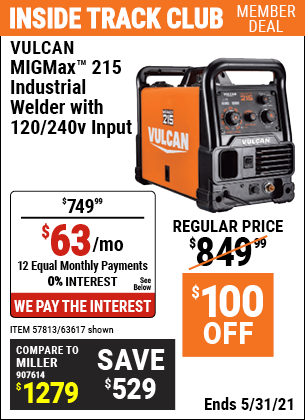 Harbor Freight Tools Coupons, Harbor Freight Coupon, HF Coupons-Migmax 215 Industrial Welder