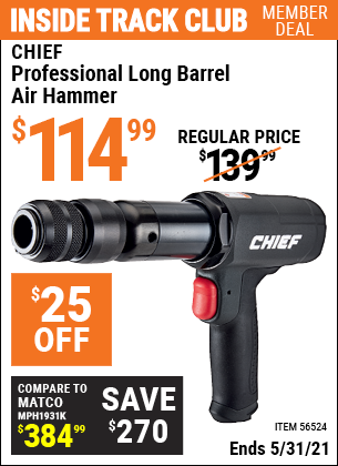 Harbor Freight Tools Coupons, Harbor Freight Coupon, HF Coupons-Professional Long Barrel Air Hammer