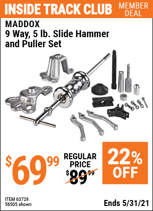 Harbor Freight Tools Coupons, Harbor Freight Coupon, HF Coupons-16 Piece Heavy Duty Slide Hammer And Puller Set