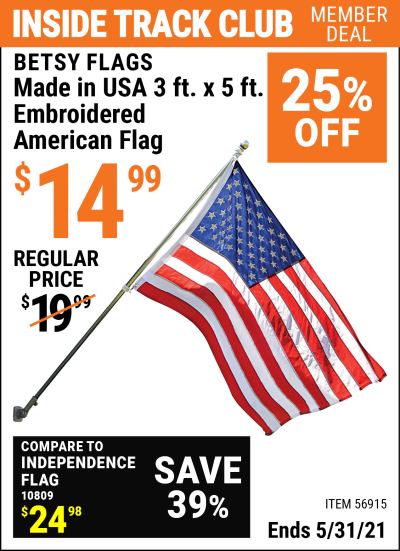 Harbor Freight Tools Coupons, Harbor Freight Coupon, HF Coupons-3ft. x 5ft. American Flag with Embroidered Stars