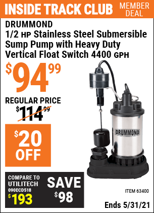 Harbor Freight Tools Coupons, Harbor Freight Coupon, HF Coupons-1/2 Hp Submersible Sump Pump With Heavy Duty Vertical Float Switch
