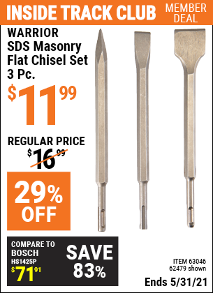 Harbor Freight Tools Coupons, Harbor Freight Coupon, HF Coupons-3 Piece Sds Masonry Flat Chisel Set