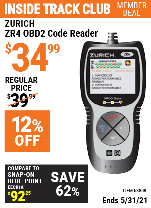 Harbor Freight Tools Coupons, Harbor Freight Coupon, HF Coupons-Zurich Obd2 Code Reader Zr4