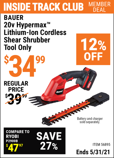 Harbor Freight Tools Coupons, Harbor Freight Coupon, HF Coupons-20v HYPERMAX Lithium-Ion Cordless Shear Shrubber – Tool Only