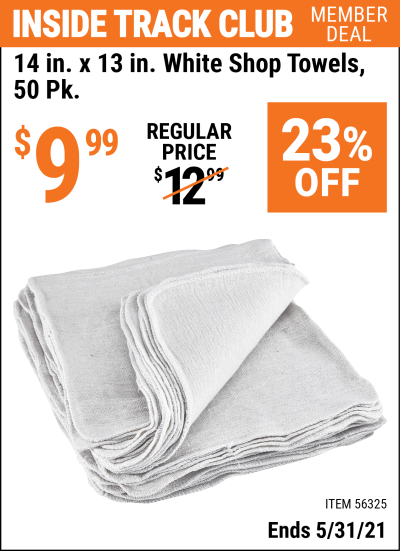 Harbor Freight Tools Coupons, Harbor Freight Coupon, HF Coupons-14 in. x 13 in. White Shop Towels, 50 Pk.