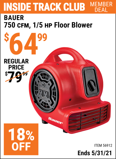 Harbor Freight Tools Coupons, Harbor Freight Coupon, HF Coupons-750 CFM  1/5 HP Floor Blower