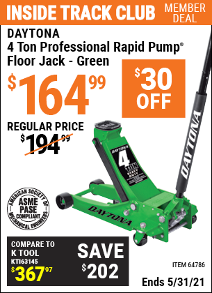 Harbor Freight Tools Coupons, Harbor Freight Coupon, HF Coupons-Rapid Pump 4 Ton Steel Professional Duty Floor Jacks