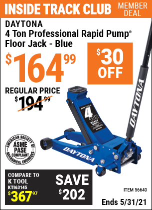Harbor Freight Tools Coupons, Harbor Freight Coupon, HF Coupons-DAYTONA 4 Ton Professional Rapid Pump Floor Jack for $159.99