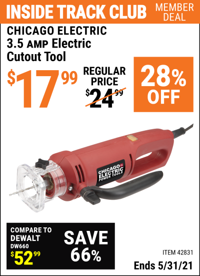 Harbor Freight Tools Coupons, Harbor Freight Coupon, HF Coupons-3.5 Amp Heavy Duty Electric Cutout Tool