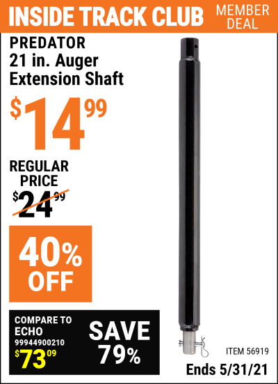 Harbor Freight Tools Coupons, Harbor Freight Coupon, HF Coupons-21 In. Auger Extension Shaft