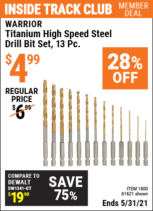Harbor Freight Tools Coupons, Harbor Freight Coupon, HF Coupons-13 Piece Titanium Nitride Coated High Speed Steel Drill Bits