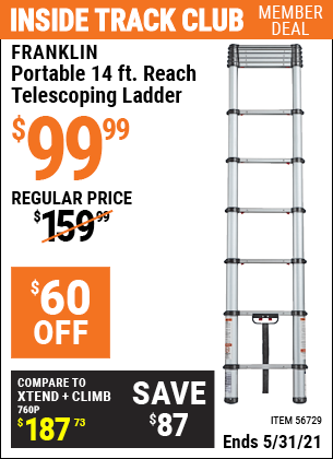 Harbor Freight Tools Coupons, Harbor Freight Coupon, HF Coupons-FRANKLIN Portable 14 Ft. Telescoping Ladder for $99.99