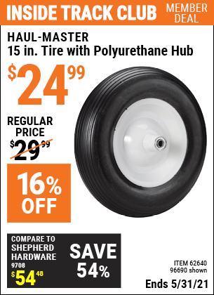 Harbor Freight Tools Coupons, Harbor Freight Coupon, HF Coupons-15 in. Worry Free Tire with Polyurethane Hub