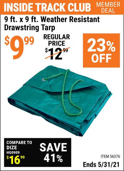 Harbor Freight Tools Coupons, Harbor Freight Coupon, HF Coupons-9 ft. x 9 ft. Weather Resistant Drawstring Tarp
