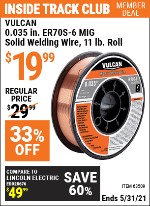 Harbor Freight Tools Coupons, Harbor Freight Coupon, HF Coupons-0.035 in. ER70S-6 MIG Solid Welding Wire, 11.00 lb. Roll