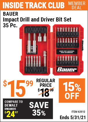 Harbor Freight Tools Coupons, Harbor Freight Coupon, HF Coupons-35 Piece Impact Drill And Driver Bit Set
