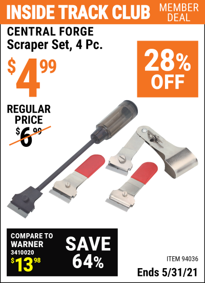 Harbor Freight Tools Coupons, Harbor Freight Coupon, HF Coupons-4 Pc. Scraper Set