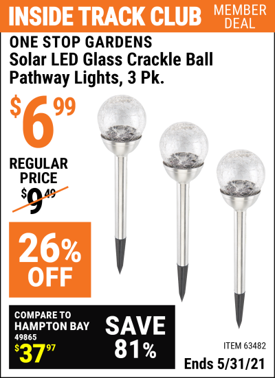Harbor Freight Tools Coupons, Harbor Freight Coupon, HF Coupons-3 Piece Solar Glass Crackle Ball Pathway Light Set