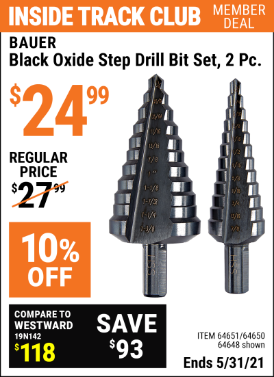 Harbor Freight Tools Coupons, Harbor Freight Coupon, HF Coupons-2 Piece Black Oxide Coated M2 Steel High Speed Step Bits