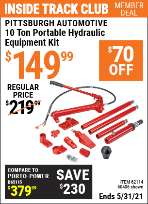 Harbor Freight Tools Coupons, Harbor Freight Coupon, HF Coupons-10 Ton Super Heavy Duty Portable Hydraulic Equipment Kit